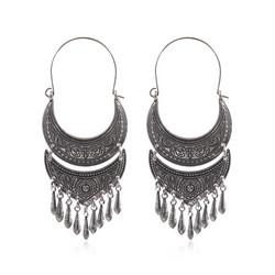 Korvakorut, Large Bohemian Hanger Earrings in Antique Silver
