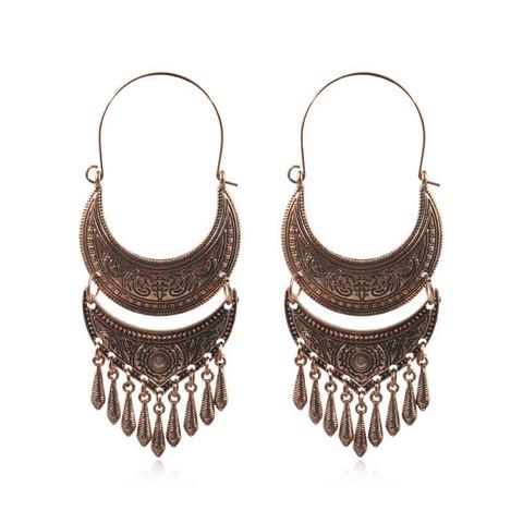 Korvakorut, Large Bohemian Hanger Earrings in Antique Bronze