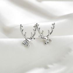 Joulukorvakorut, Stylish Reindeer Earrings in Silver