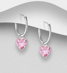 Hopeiset korvarenkaat, CZ Huggie Hoops with Pink Heart