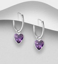 Hopeiset korvarenkaat, CZ Huggie Hoops with Purple Heart