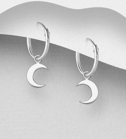 Hopeiset korvarenkaat, Silver Crescent Huggie Hoops