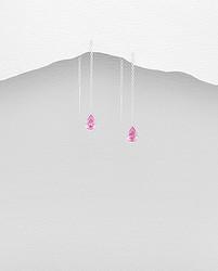 Hopeiset ketjukorvakorut, Chain with CZ Pink Teardrop