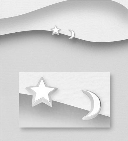Hopeiset korvanapit, Moon and Star -kuu ja tähtikorvakorut