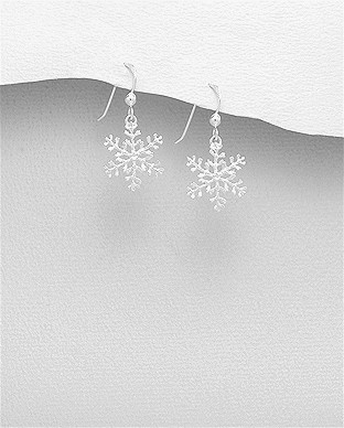 Hopeiset korvakorut, Christmas Snowflake -lumihiutalekorvakorut