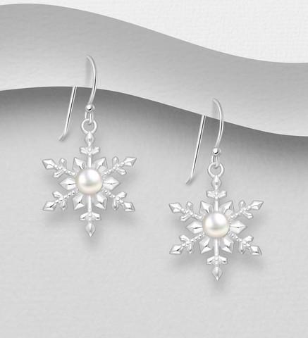 Hopeiset korvakorut, Pearl Snowflake -lumihiutalekorvakorut
