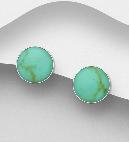 Hopeanapit, PREMIUM COLLECTION Classic Earstuds with Turqoise