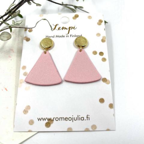 LEMPI-korvakorut, Mini kolmio (nappi, vaaleanpunainen)