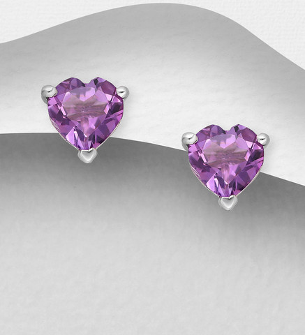 Hopeanapit, PREMIUM COLLECTION Amethyst Heart Earstuds