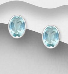 Hopeanapit, PREMIUM COLLECTION|Oval Blue Topaz Earstuds