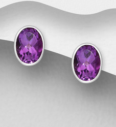 Hopeanapit, PREMIUM COLLECTION|Oval Amethyst Earstuds