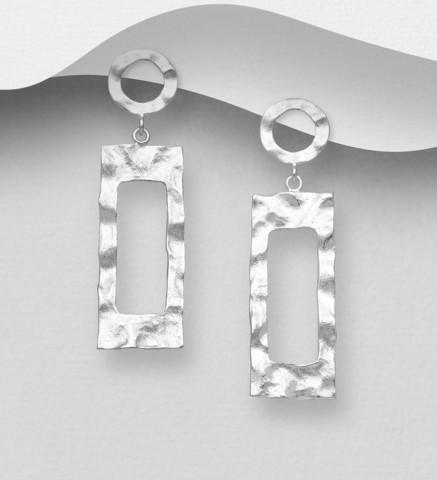 Hopeakorvakorut, PREMIUM COLLECTION Minimalistic Rectangle Earrings