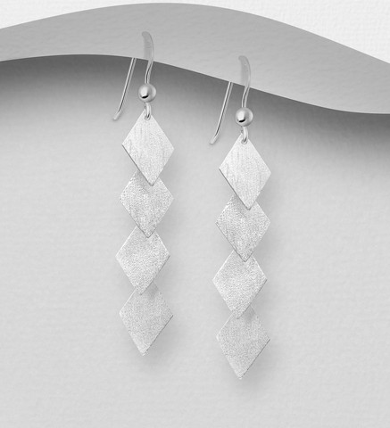 Hopeakorvakorut, PREMIUM COLLECTION|Minimalistic Matt Diamond Earrings