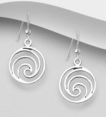 Hopeakorvakorut, PREMIUM COLLECTION Minimalistic Wave Earrings