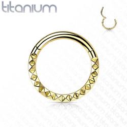 Lävistysrengas, Implant Grade Titanium Front Pyramid Cut Hoops in Gold