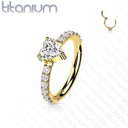 Lävistysrengas,Titanium CZ Heart Center Clicker in Gold