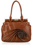 Brown Floral Tote Shoulder Bag With Ruffled Zipper Accents