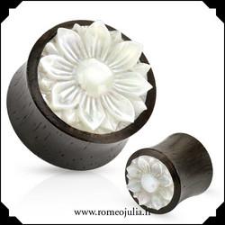 Puuplugi helmiäiskoristeella 14mm
