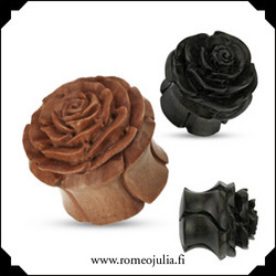Puuplugi ruusukoristeella 8mm