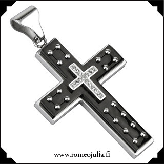 Kirurginteräsriipus, Black Cross with Studs (risti)