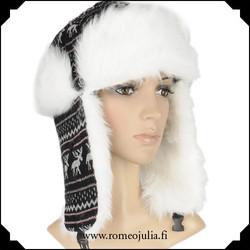 Trapper hat, mustapunainen poro