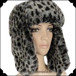 Trapper hat, animalprint harmaa
