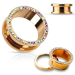 Tunneli 8mm, AB Crystals Rim Rose Gold