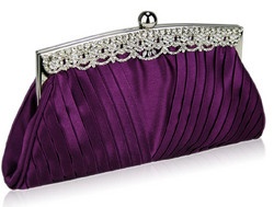 Iltalaukku, Purple Eveningbag with Crystals