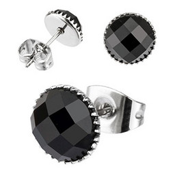 Korvakorut, Black Round Diamond 8mm