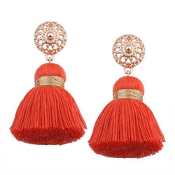 Korvakorut, Small Lace Tassels in Orange