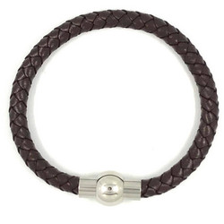 Kirurginteräsrannekoru, Brown Leather Bracelet with Stainless Steel