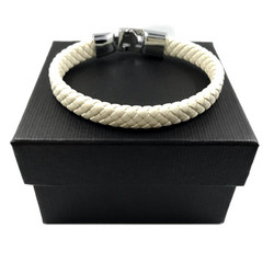 Kirurginteräsrannekoru, White Leather Bracelet with Stainless Steel