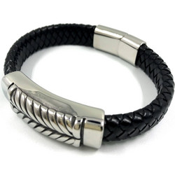 Kirurginteräsrannekoru, Black Chunky Leather Bracelet with Stainless Steel