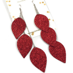 LEMPI-korvakorut, Lehdet (punainen glitter)