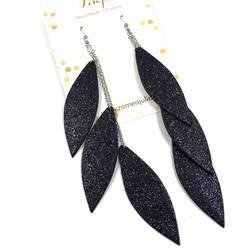 LEMPI-korvakorut, Laura (musta glitter, kolmiosainen)