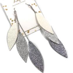LEMPI-korvakorut, Laura (valkoinen, hopea, titaani glitter; kolmiosainen)