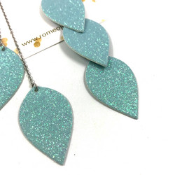 LEMPI-korvakorut, Lehdet (minttu glitter, kolmiosainen)