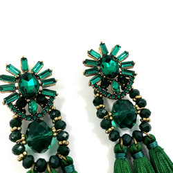 Korvakorut,  Large Trendy Emerald Green Tassel Earrings