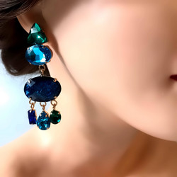 Korvakorut,  Large Trendy Caribbean Blue Earrings