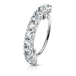 Lävistysrengas, Half Circle Lined CZ Bendable Hoop Ring 0,8mm/8mm