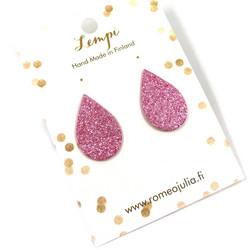 LEMPI-korvanapit, Pisara (vaaleanpunainen glitter)