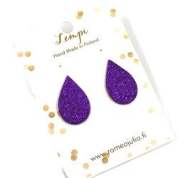 LEMPI-korvanapit, Pisara (violetti glitter)