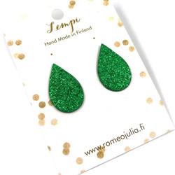 LEMPI-korvanapit, Pisara (vihreä glitter)