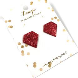 LEMPI-korvanapit, Timantti (punainen glitter)