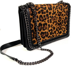 Laukku/DL. PARIS|Black Handbag with Leopard Print
