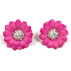 Korvanapit, 50's Flower (pink with small crystals)