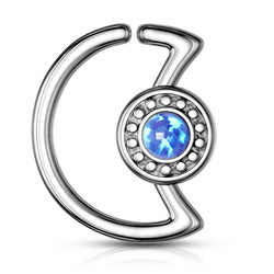 Lävistyskoru, Crescent Moon Shape 316L Surgical Steel Ear Cartilage, Daith Hoop Ring in Blue