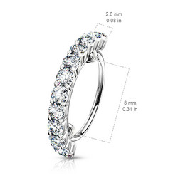 Lävistysrengas, Half Circle Lined CZ Bendable Hoop Ring 1,2mm/8mm