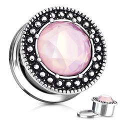 Plugi 12mm, Pink Stone Centered