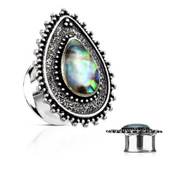 Plugi 12mm, Abalone Centered Tear Drop Top